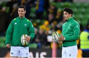 16 June 2018; Joey Carbery, right, and Jonathan Sexton of Ireland warm-up prior to the 2018 Mitsubishi Estate Ireland Series 2nd Test match between Australia and Ireland at AAMI Park, in Melbourne, Australia. Photo by Brendan Moran/Sportsfile