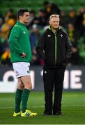 16 June 2018; Jonathan Sexton, left, of Ireland and Ireland head coach Joe Schmidt warm-up prior to the 2018 Mitsubishi Estate Ireland Series 2nd Test match between Australia and Ireland at AAMI Park, in Melbourne, Australia. Photo by Brendan Moran/Sportsfile