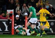 16 June 2018; Andrew Conway of Ireland scores his side's first try during the 2018 Mitsubishi Estate Ireland Series 2nd Test match between Australia and Ireland at AAMI Park, in Melbourne, Australia. Photo by Brendan Moran/Sportsfile