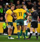 16 June 2018; Marika Koroibete of Australia is shown a yellow card by referee Paul Williams during the 2018 Mitsubishi Estate Ireland Series 2nd Test match between Australia and Ireland at AAMI Park, in Melbourne, Australia. Photo by Brendan Moran/Sportsfile