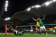 16 June 2018; Jonathan Sexton, right, of Ireland, celebrates as team-mate Andrew Conway scores their side's first try during the 2018 Mitsubishi Estate Ireland Series 2nd Test match between Australia and Ireland at AAMI Park, in Melbourne, Australia. Photo by Brendan Moran/Sportsfile