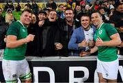 16 June 2018; Jordi Murphy, left, and John Cooney of Ireland celebrate with fans after the 2018 Mitsubishi Estate Ireland Series 2nd Test match between Australia and Ireland at AAMI Park, in Melbourne, Australia. Photo by Brendan Moran/Sportsfile