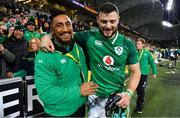 16 June 2018; Bundee Aki, left, and Robbie Henshaw of Ireland celebrate after the 2018 Mitsubishi Estate Ireland Series 2nd Test match between Australia and Ireland at AAMI Park, in Melbourne, Australia. Photo by Brendan Moran/Sportsfile