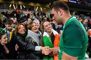 16 June 2018; Tadhg Beirne of Ireland celebrates with his family, mother Brenda Hyland, sisters Jennifer and Caoimhe and father Gerry after the 2018 Mitsubishi Estate Ireland Series 2nd Test match between Australia and Ireland at AAMI Park, in Melbourne, Australia. Photo by Brendan Moran/Sportsfile