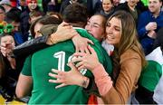 16 June 2018; Tadhg Beirne of Ireland celebrates with his sisters Jennifer, Caoimhe, centre, and Alannah after the 2018 Mitsubishi Estate Ireland Series 2nd Test match between Australia and Ireland at AAMI Park, in Melbourne, Australia. Photo by Brendan Moran/Sportsfile