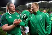 16 June 2018; Tadhg Furlong, left, and John Ryan of Ireland after the 2018 Mitsubishi Estate Ireland Series 2nd Test match between Australia and Ireland at AAMI Park, in Melbourne, Australia. Photo by Brendan Moran/Sportsfile