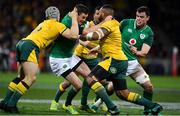 16 June 2018; Jonathan Sexton of Ireland is tackled by David Pocock, left, and Sekope Kepu of Australia  during the 2018 Mitsubishi Estate Ireland Series 2nd Test match between Australia and Ireland at AAMI Park, in Melbourne, Australia. Photo by Brendan Moran/Sportsfile
