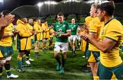 16 June 2018; The Ireland team, led by captain Peter O'Mahony, are applauded off by Australia after the 2018 Mitsubishi Estate Ireland Series 2nd Test match between Australia and Ireland at AAMI Park, in Melbourne, Australia. Photo by Brendan Moran/Sportsfile