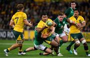 16 June 2018; Taniela Tupou of Australia is tackled by Rob Herring and Tadhg Furlong of Ireland during the 2018 Mitsubishi Estate Ireland Series 2nd Test match between Australia and Ireland at AAMI Park, in Melbourne, Australia. Photo by Brendan Moran/Sportsfile