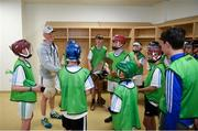 16 June 2018; Bord Gáis Energy Rewards Club winners attended the Bord Gáis Energy #HurlingToTheCore training camp in Páirc Uí Chaoimh today where they had the chance to meet hurling stars and Bord Gáis Energy ambassadors Alan Cadogan of Cork, Paudie Feehan of Tipperary and Fergal Whitely of Dublin. Pictured is Fergal Whitely of Dublin speaking to players in the dressing room during the camp. All attendees were members of the Bord Gáis Energy Rewards Club, which offers its customers unmissable rewards throughout the Championship season, including match tickets and hospitality, access to training camps with Hurling stars and the opportunity to present Man of the Match Awards at U-21 games during the 2018 BGE #HurlingToTheCore training camp at Páirc Uí Chaoimh in Ballintemple, Cork. Photo by Eóin Noonan/Sportsfile
