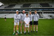 16 June 2018; Bord Gáis Energy Rewards Club winners attended the Bord Gáis Energy #HurlingToTheCore training camp in Páirc Uí Chaoimh today where they had the chance to meet hurling stars and Bord Gáis Energy ambassadors Alan Cadogan of Cork, Paudie Feehan of Tipperary and Fergal Whitely of Dublin. Pictured are Fergal Whitely of Dublin, Ger Cunningham, Alan Cadogan of Cork and Paudie Feehan of Tipperary with James Lane during the camp. All attendees were members of the Bord Gáis Energy Rewards Club, which offers its customers unmissable rewards throughout the Championship season, including match tickets and hospitality, access to training camps with Hurling stars and the opportunity to present Man of the Match Awards at U-21 games during the 2018 BGE #HurlingToTheCore training camp at Páirc Uí Chaoimh in Ballintemple, Cork. Photo by Eóin Noonan/Sportsfile