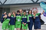 16 June 2018; Members of the Team Connacht basketball team, from left, Grace O'Brien, Orla Carpenter, Pauline Keane, Evelyn Bowen, Alison Dunleavy, Clare Kirby and Gina Naughton at the Special Olympics 2018 Ireland Games at The National Indoor Arena, National Sports Campus in Abbotstown, Dublin. Photo by David Fitzgerald/Sportsfile