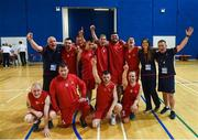 16 June 2018; Team Munster celebrate their victory over Ulster following their semi final basketball match at the Special Olympics 2018 Ireland Games at The National Indoor Arena, National Sports Campus in Abbotstown, Dublin. Photo by David Fitzgerald/Sportsfile