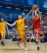 16 June 2018; Shane Keliher of Munster in action against Daniel James Cannon of Ulster during their semi final basketball match at the Special Olympics 2018 Ireland Games at The National Indoor Arena, National Sports Campus in Abbotstown, Dublin. Photo by David Fitzgerald/Sportsfile