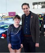 16 June 2018; Minister for Health Simon Harris T.D with rhythmic gymnast Bridget Cowman, from Enniscorthy, Co Wexford, of Team Leinster at the Special Olympics 2018 Ireland Games at The National Indoor Arena, National Sports Campus in Abbotstown, Dublin. Photo by David Fitzgerald/Sportsfile