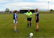 16 June 2018; Referee Kieran McKeever with team captains Christine Charters of Cavan and Erica Field of Dublin before the All-Ireland U14 A Ladies Football Final match between Cavan and Dublin in Lann Léire GAA in Dunleer, Co. Louth. Photo by Piaras Ó Mídheach/Sportsfile
