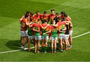 10 June 2018; Carlow trainer and selector Steven Poacher talks in a team huddle before the Leinster GAA Football Senior Championship Semi-Final match between Carlow and Laois at Croke Park in Dublin. Photo by Piaras Ó Mídheach/Sportsfile