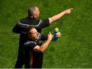 10 June 2018; Carlow trainer and selector Steven Poacher and manager Turlough O'Brien, behind, during the Leinster GAA Football Senior Championship Semi-Final match between Carlow and Laois at Croke Park in Dublin. Photo by Piaras Ó Mídheach/Sportsfile
