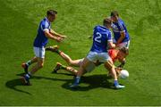 10 June 2018; Paul Broderick of Carlow in action against Laois players, from left, Niall Donoher, Stephen Attride, and Gareth Dillon during the Leinster GAA Football Senior Championship Semi-Final match between Carlow and Laois at Croke Park in Dublin. Photo by Piaras Ó Mídheach/Sportsfile