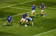 10 June 2018; Philly McMahon of Dublin in action against Longford players, from left, Diarmuid Masterson, David McGivney, Padraig McCormack, and Donal McElligott during the Leinster GAA Football Senior Championship Semi-Final match between Dublin and Longford at Croke Park in Dublin. Photo by Piaras Ó Mídheach/Sportsfile