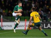 16 June 2018; Jordan Larmour of Ireland in action against Dane Haylett-Petty of Australia during the 2018 Mitsubishi Estate Ireland Series 2nd Test match between Australia and Ireland at AAMI Park, in Melbourne, Australia. Photo by Brendan Moran/Sportsfile