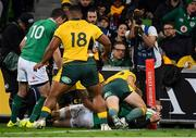 16 June 2018; Keith Earls of Ireland touches down for a try, which was subsequenty disallowed for a knoc on, during the 2018 Mitsubishi Estate Ireland Series 2nd Test match between Australia and Ireland at AAMI Park, in Melbourne, Australia. Photo by Brendan Moran/Sportsfile