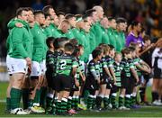 16 June 2018; Cian Healy of Ireland, left, stands alongside his team-mates prior to the 2018 Mitsubishi Estate Ireland Series 2nd Test match between Australia and Ireland at AAMI Park, in Melbourne, Australia. Photo by Brendan Moran/Sportsfile