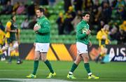 16 June 2018; Jonathan Sexton, left, and Joey Carbery of Ireland prior to the 2018 Mitsubishi Estate Ireland Series 2nd Test match between Australia and Ireland at AAMI Park, in Melbourne, Australia. Photo by Brendan Moran/Sportsfile