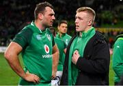 16 June 2018; Tadhg Beirne, left, and Dan Leavy of Ireland after the 2018 Mitsubishi Estate Ireland Series 2nd Test match between Australia and Ireland at AAMI Park, in Melbourne, Australia. Photo by Brendan Moran/Sportsfile