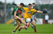 17 June 2018; Oisín Mullin of Mayo in action against Gavin Byrne of Roscommon during the EirGrid Connacht GAA Football U20 Championship Final match between Mayo and Roscommon at Dr Hyde Park in Roscommon. Photo by Ramsey Cardy/Sportsfile