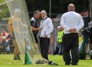 17 June 2018; Referee James Owens consults with his umpires before they indicated a wide during the Munster GAA Hurling Senior Championship Round 5 match between Clare and Limerick at Cusack Park in Ennis, Clare. Photo by Ray McManus/Sportsfile