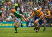 17 June 2018; Seamus Flanagan of Limerick in action against Conor Cleary of Clare during the Munster GAA Hurling Senior Championship Round 5 match between Clare and Limerick at Cusack Park in Ennis, Clare. Photo by Ray McManus/Sportsfile
