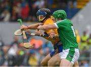17 June 2018; David McInerney of Clare in action against Shane Dowling of Limerick during the Munster GAA Hurling Senior Championship Round 5 match between Clare and Limerick at Cusack Park in Ennis, Clare. Photo by Ray McManus/Sportsfile