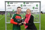 17 June 2018; Ryan O'Donoghue of Mayo receives the Man of the Match award from Eirgrid's Senior Marketing Communications Specialist, Emma Moriarty, after the EirGrid Connacht GAA Football U20 Championship Final match between Mayo and Roscommon at Dr Hyde Park in Roscommon. Photo by Ramsey Cardy/Sportsfile