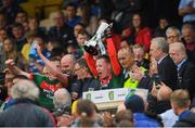 17 June 2018; Mayo captain Ryan O'Donoghue lifts the cup following their victory in the EirGrid Connacht GAA Football U20 Championship Final match between Mayo and Roscommon at Dr Hyde Park in Roscommon. Photo by Piaras Ó Mídheach/Sportsfile