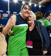 17 June 2018; Sarah Kilmartin from Athlone, Co. Westmeath celebrates with her mother Kerry after winning the Ladies Basketball Final match between Connaught Female 1 and Eastern Female 2 during the Special Olympics 2018 Ireland Games at the FAI National Training Centre in Abbotstown, Dublin. Photo by Tom Beary/Sportsfile