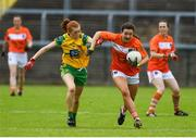 17 June 2018; Tiarna Grimes of Armagh in action against Deirdre Foley of Donegal during the TG4 Ulster Ladies Football Senior Championship Final match between Armagh and Donegal at Brewster Park in Enniskillen, Co. Fermanagh. Photo by Daire Brennan/Sportsfile