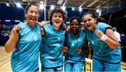 17 June 2018; Eastern Female Team 1, from left, Michelle Stynes, Louise Day, Tekhisti Abbay and Lauren Campbell celebrate after winning the Ladies Basketball Final match between Eastern Female 1 and Leinster Female 1 during the Special Olympics 2018 Ireland Games at the FAI National Training Centre in Abbotstown, Dublin. Photo by Tom Beary/Sportsfile