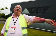 17 June 2018; Volunteer Gerard Murray from Donaghmede, Dublin directs patrons towards the canteen facilities during the Special Olympics 2018 Ireland Games at the FAI National Training Centre in Abbotstown, Dublin. Photo by Tom Beary/Sportsfile