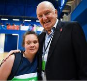 17 June 2018; Monica O'Gorman from Mullingar, Co. Westmeath and the Connaught Female Team 1 team celebrate with George Hook after winning in the Ladies Basketball Final match between Connaught Female 1 and Eastern Female 2 during the Special Olympics 2018 Ireland Games at the FAI National Training Centre in Abbotstown, Dublin. Photo by Tom Beary/Sportsfile