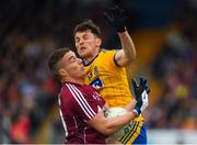 17 June 2018; Eamonn Brannigan of Galway in action against Diarmuid Murtagh of Roscommon during the Connacht GAA Football Senior Championship Final match between Roscommon and Galway at Dr Hyde Park in Roscommon. Photo by Piaras Ó Mídheach/Sportsfile