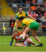 17 June 2018; Kelly Mallon of Armagh in action against Emer Gallagher, left, and Nicole McLaughlin of Donegal during the TG4 Ulster Ladies Football Senior Championship Final match between Armagh and Donegal at Brewster Park in Enniskillen, Co. Fermanagh. Photo by Daire Brennan/Sportsfile