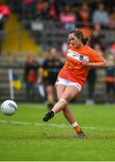 17 June 2018; Aimee Mackin of Armagh scores her side's second goal from a penalty during the TG4 Ulster Ladies Football Senior Championship Final match between Armagh and Donegal at Brewster Park in Enniskillen, Co. Fermanagh. Photo by Daire Brennan/Sportsfile