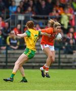 17 June 2018; Caroline O'Hanlon of Armagh in action against Deirdre Foley of Donegal during the TG4 Ulster Ladies Football Senior Championship Final match between Armagh and Donegal at Brewster Park in Enniskillen, Co. Fermanagh. Photo by Daire Brennan/Sportsfile