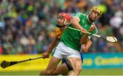17 June 2018; Dan Morrissey of Limerick in action against Peter Duggan of Clare during the Munster GAA Hurling Senior Championship Round 5 match between Clare and Limerick at Cusack Park in Ennis, Clare. Photo by Ray McManus/Sportsfile