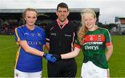 17 June 2018; Kate Moore of Tipperary, left, shakes hands with Keira Tuohy of Mayo with Referee Eamonn Moran, Co. Kerry, prior to the All-Ireland Ladies Football U14 B Final between Mayo and Tipperary at Duggan Park in Ballinasloe, Co. Galway. Photo by Harry Murphy/Sportsfile
