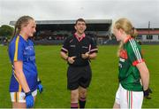 17 June 2018; Referee Eamonn Moran, Co. Kerry tosses the coin infront of  Kate Moore of Tipperary and Keira Tuohy of Mayo prior to the All-Ireland Ladies Football U14 B Final between Mayo and Tipperary at Duggan Park in Ballinasloe, Co. Galway. Photo by Harry Murphy/Sportsfile