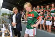 17 June 2018; Keira Tuohy of Mayo speaks after the All-Ireland Ladies Football U14 B Final between Mayo and Tipperary at Duggan Park in Ballinasloe, Co. Galway. Photo by Harry Murphy/Sportsfile