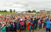 17 June 2018; Mayo fans celebrate after the All-Ireland Ladies Football U14 B Final between Mayo and Tipperary at Duggan Park in Ballinasloe, Co. Galway. Photo by Harry Murphy/Sportsfile