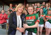 17 June 2018; Milly Sherridan of Mayo is presented her Player Of The Match award by LGFA President Marie Hickey after the All-Ireland Ladies Football U14 B Final between Mayo and Tipperary at Duggan Park in Ballinasloe, Co. Galway. Photo by Harry Murphy/Sportsfile